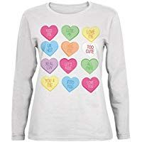 Old Glory Valentine's Day Candy Hearts White Womens Long Sleeve T-Shirt Valentine T Shirts, Valentine Day Gifts, Personalized Valentine's Day Gifts, Old Glory, Hearts, Candy, T Shirts For Women, Long Sleeve, Sweaters