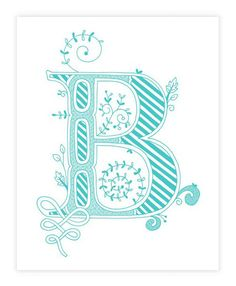 Hand drawn monogrammed print, 8x10, the Letter B, in the color blue. $15.00, via Etsy.