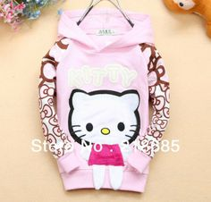 Free Shipping 4pcs/lot Baby Girls Cartoon Hoodies Sweatshirts Girls Hello Kitty Hoody Coat Bow Sleeve Children Outerwear US $24.67