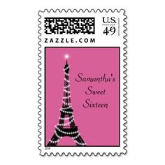 Sparkly Parisian Sweet Sixteen Stamp