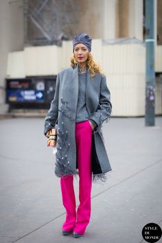Haute Couture SS 2014 Street Style: Elina Halimi - STYLE DU MONDE |  6 Feb '14 Elina Halimi, founder of Kabuki Paris, wearing Dries van Noten coat, Stella McCartney pants.