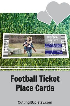 These Football Ticket Place Cards are the perfect fit for your Football or other Sport Themed Wedding Reception. Make your place cards fit your theme by seating your guests with tickets! You can name your tables with sections, teams, numbers, stadiums or players. It's entirely up to you. This Patriot's Bride and Groom took engagement photos in their Jerseys! Basketball Wedding, Football Wedding, Ticket Invitation, Invitations, Football Ticket, Wedding Place Cards, Engagement Photos, Wedding Reception, Perfect Fit