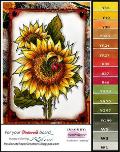 handmade card from Passionate Paper Creations: Stampendous Sunflower with Ladybug . Copic color chart too . Copic Pens, Copic Sketch Markers, Copic Art, Copics, Sunflower Cards, Poppy Cards, Copic Markers Tutorial, Color Of The Day, Coloring Tutorial
