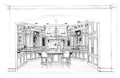Kitchen layout, slightly separated by arch from great room. Enclosed by cabinets at an angle. Need two islands.