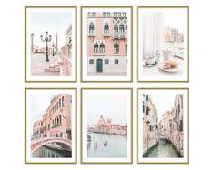Venice Italy Gallery Wall Art Set of 6 Prints Pastel Pink Travel Original Artwork Pink Wall Art, Wall Art Sets, Wall Art Prints, Teen Bedroom Designs, Bedroom Ideas, Bedroom Decor, Pastel Home Decor, Pastel House, Baby Girl Nursery Decor