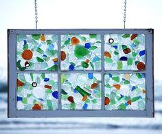Stunning Sea Glass Mosaic DIY Ideas - Coastal Decor Ideas and Interior Design Inspiration Images Sea Glass Mosaic, Sea Glass Art, Stained Glass Art, Water Glass, Old Window Frames, Window Art, Window Hanging, Window Ideas, Window Panes