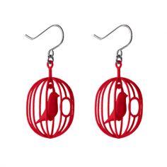 Nieuwe oorbellen met kerstmis? Leuk cadeau: rode Happy Bird oorbellen