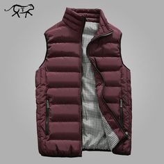 Autumn Vest Men Fashion Stand Collar Men's Sleeveless Jackets Casual Slim Fit Cotton Pad Coats Man Winter Waistcoats Plus Size Quilted Vest Mens, Mens Sleeveless Jacket, Moda Men, Fall Vest, Outdoor Outfit, Mens Fashion, Coat, Cotton Jacket, Explore