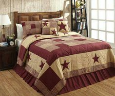 Patchwork Quilt Set Queen Size Jamestown Burgundy Star Tan Country Bedding for sale online King Quilt Bedding, King Quilt Sets, Bedding Sets, Queen Quilt, Twin Quilt, Country Bedding, Country Quilts, Rustic Bedding, Scrappy Quilts