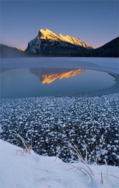 Mount Rundle Winter, Abraham Lake, Banff National Park in Alberta Canada | Top 20 Beautiful Nature & Places In Canada.