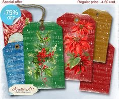 75% OFF SALE Christmas Tags  Digital Collage by KristieArtDesign