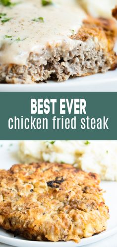 Chicken Fried Steak. The ultimate in southern comfort recipes! Tender seasoned steak, coated with a thick batter and fried until golden. Served with a cream gravy drizzled on top. Simple, basic ingredients is all that is needed to bring this recipe to life in your own kitchen! Perfect dinner recipe. #chickenfriedsteak #dinner