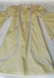 Vestido medieval de niña. Realizado en viscosa con pasamanería plata.