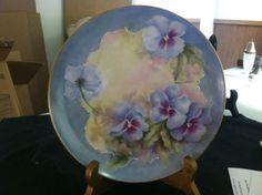 Vintage-Bavaria-Limoges-Porcelain-Hand-Painted-Plate-Artist-Signed-Pansies