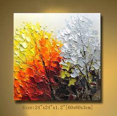 Original pintura abstracta moderna pintura con textura gruesa Impasto paisaje textura pintura moderna espátula, sobre lienzo de Chen 0304