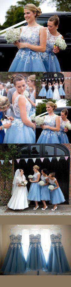 5bb970ca8d1 Chic A-line Bateau Blue Bridesmaid Dresses Applique Cheap Prom Dress Brides  Gowns AMY2152