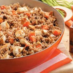 """Chicken Bulgur Skillet Recipe -""""This recipe was passed on to me by a friend. I've altered it slightly to suit our tastes,"""" Leann Hilmer from Sylvan Grove, Kansas says of the simple skillet supper. """"We like it with a fresh green salad."""""""