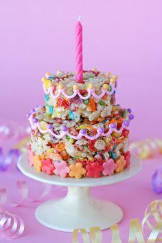 fruit pebbles/rice krispy treats cake