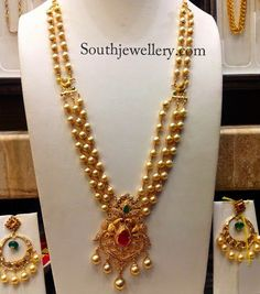 South Sea Pearl Indian Designs | Three stringed south sea pearls haram with cz pendant, paired up with ...