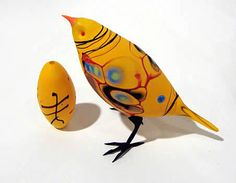 """Shane Fero's Elegant Glass Birds""--""Yellow Abstract Finch. Flameworked glass & acid-etched."""