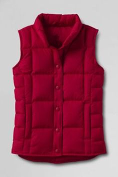 Women's Down Vest from Lands' End. $49. Free monogramming. size large. red or hunter green.