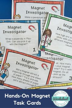 Hands on magnet task cards are great for a magnet station! There are 36 tasks for students to complete to get them exploring magnets. More Than a Worksheet $ #morethanaworksheet #tpt #magnetlessons #handsonscience