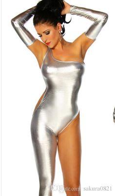 988edba4136d6 Sexy One Shoulder One Leg zenti costume Women Exotic Jumpsuit Patent  Leather uniform tempatationCostume Night Clubwear pole dancing bodysuit