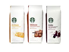Starbucks' new coffee packaging makes it easier to find your favourite coffee as they are categorised by roast. The pearlescent white bags are already in Starbucks outlets and will be in grocery aisles everywhere by mid-February. Starbucks New Coffee, Starbucks Ice Cream, Coffee Packaging, Coffee Branding, Brand Packaging, Packaging Design, Retail Packaging, Starbucks Coupon, Packaging