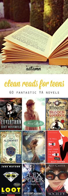 list of clean reads for teens! 60 fantastic young adult novels your teenager will want to read.Great list of clean reads for teens! 60 fantastic young adult novels your teenager will want to read. Ya Books, Book Club Books, Library Books, Book Lists, Book Series, Good Books, Books To Read, Book Nerd, Books For Teen Boys