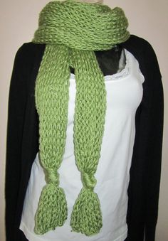 Great!>Extra Long Hand Knit Scarf in Fern Fougere One of a by Madebyfate, $67.00