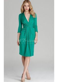 Sheath/Column V-neck Knee-length Jade Knitwear Bridesmaid Dresses(BD333) Kommer i lilac