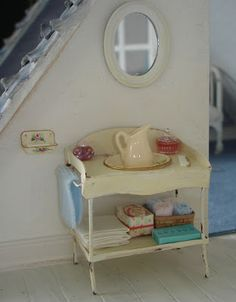 Carolyn's Little Kitchen: bedroom washstand made of wire and cardboard