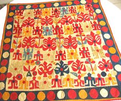 Antique Applique Folk Art Textile 10 by ThreadsOfOld on Etsy, $475.00