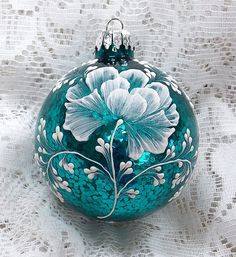 Glittery Turquoise Hand Painted 3D Florals MUD by MargotTheMUDLady
