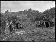 View of three rua kumara (pits for storing kumara), dug into the side of a hill, at Ruatahuna. Photograph taken by Albert Percy Godber in I. Abstract Sculpture, Bronze Sculpture, Wood Sculpture, Old Pictures, Old Photos, Polynesian People, Maori People, Maori Art, Ice Sculptures