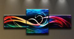 4 panal metal wall art   Metal Wall Art Abstract Modern 3 panels Sculpture Ocean Colors ...
