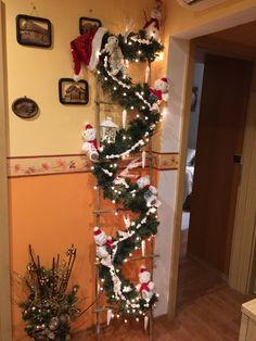 Christmas Wreaths, Christmas Tree, Ladder Decor, Holiday Decor, Crafts, Home Decor, Christmas Swags, Teal Christmas Tree, Homemade Home Decor