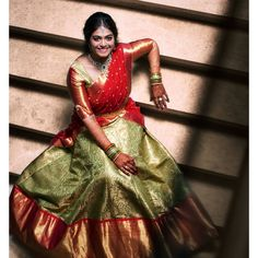 Can anything beat the beauty of a traditional half-saree ? Photo by Half Saree Lehenga, Lehenga Saree Design, Pattu Saree Blouse Designs, Half Saree Designs, Lehnga Dress, Bridal Blouse Designs, Lehenga Designs, Anarkali, Brocade Lehenga