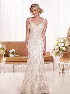 Lace Wide Straps Sheath Hourglass Crystal Wedding Dress