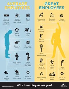 infographic Which are you? A Great Employee or an Average Employee? How many criteria do y... Image Description Which are you? A Great Employee or an Avera