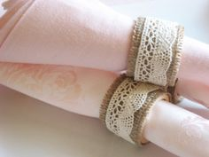 Napkin Rings, Burlap &  Lace: Set of 4 - Dining, Table, Housewares, Entertaining, Rustic, Handmade, Special Occasions, Home Decor, Kitchen. $15.00, via Etsy.