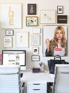 Create a chic office space using QuickStick hooks to hang your artwork.