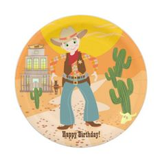 Cowboy kid birthday party paper plate