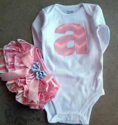 Newborn Baby Girl Outfit, Take Home Outfit, Personalized Initial, Satin Bloomers and Chevron Onesie Set, diaper cover SHORT or LONG SLEEVES on Etsy, $42.99