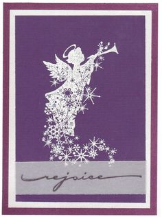 https://flic.kr/p/BRip7d | Rejoice Angel | Christmas card handmade with rubber stamps, sent by a friend in Illinois.