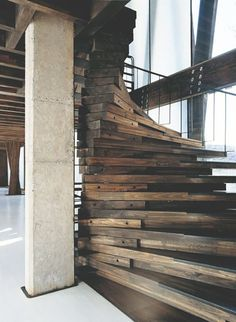 LIVING FOR THIS STARE CASE!❥ ❝Style design Home luxury rustic architecture Interior Stairs house interiors loft decor living modern apartment Wood industrial contemporary Cement beams carpentry stair case urban industrial❞. Rustic Stairs, Wood Staircase, Wooden Stairs, Staircase Design, Spiral Staircases, Modern Staircase, Winding Staircase, Stair Design, Staircase Ideas