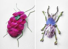 Japanese artist Raku Inoue uses plants and flowers to create beautiful insects like you've never seen before.