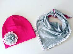 Jesienny komplet, czapka z chustka - Lukrowane-Migdaly - Czapki dla dzieci