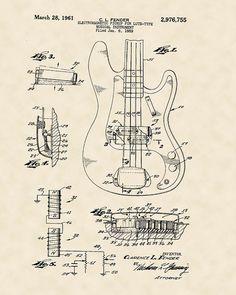 20 free vintage printable blueprints and diagrams remodelaholic music 16x20 fender guitar musical instrument music 1961 art design american patent vintage malvernweather Images