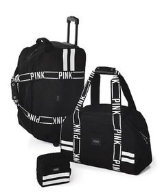 Victoria's Secret NWT LOVE PINK Black Logo 3 Piece Luggage Set Wheelie Duffle  #VictoriasSecret #3PieceLuggageSet